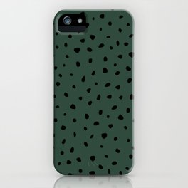 Cheetah Spots animal print minimal wild cat speckles and dots Forest Green iPhone Case