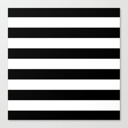 Stripe Black & White Horizontal Canvas Print