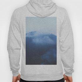Minimalist Foggy Misty Ink Blue Pine Forest Landscape Photography Hoody