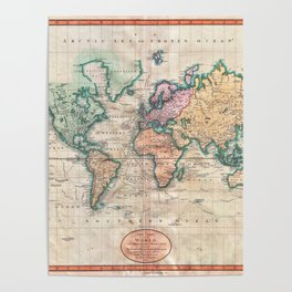 Vintage World Map 1801 Poster