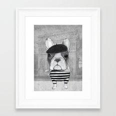 French Bulldog. (black and white version) Framed Art Print