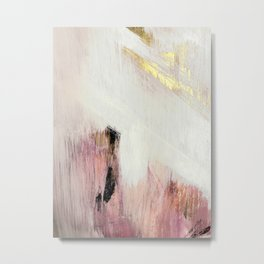 Sunrise [2]: a bright, colorful abstract piece in pink, gold, black,and white Metal Print
