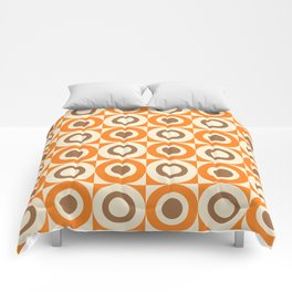 Mid Century Square and Circle Pattern 541 Orange and Brown Comforters