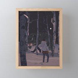 Kitsune at Night Framed Mini Art Print