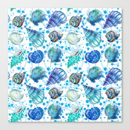 Seamless watercolor marine pattern. Endless texture. Hand draw. Collection of shells on white backgr Canvas Print