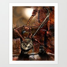 One Thousand Pardons: One-String Bass Gimp in the Meat Castle Art Print