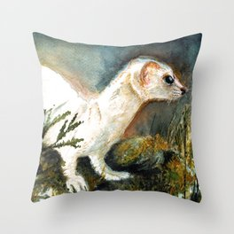 Winter stoat watercolor Throw Pillow