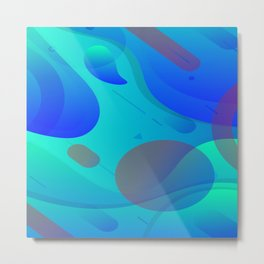 Purple Blue And Green Abstract Design Metal Print