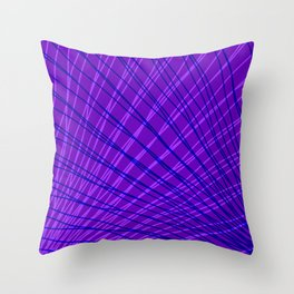 Rays of blue light with mirrored violet waves on mesh. Throw Pillow