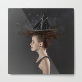 Sailing - Black Metal Print