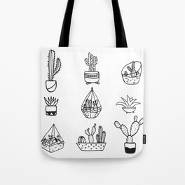 Minimalist Cacti Collection Black and White Tote Bag