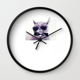 Check Meowt Funny Graphic Cat T-shirt Wall Clock