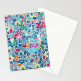 Pretty Pastel Moroccan Tile Mosaic Pattern Stationery Cards
