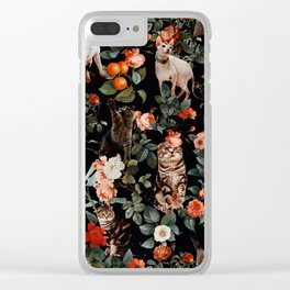 Cat and Floral Pattern II Clear iPhone Case