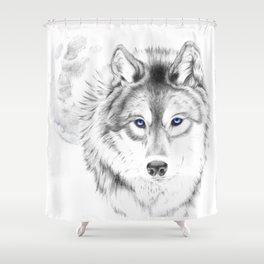 WOLF WHITE Shower Curtain