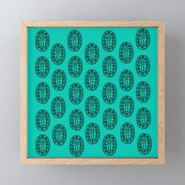 Ancient Egyptian Amulet Pattern Turquoise Blue Framed Mini Art Print