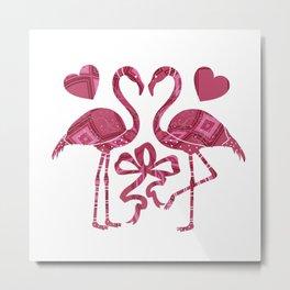 Whimsical Flamingos Metal Print