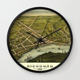 Aerial View of Richmond, Maine (1878) Wall Clock