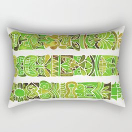 Tiki Totems – Green Rectangular Pillow