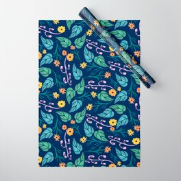 Watercolour dark blue seamless pattern background with whimsical flowers. Wrapping Paper