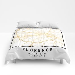 FLORENCE ITALY CITY STREET MAP ART Comforters