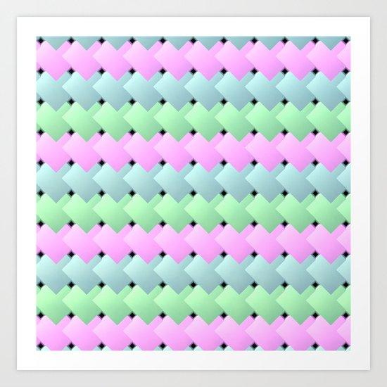 Overlapping Diagonal Square Pattern Art Print