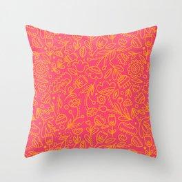 Floral Pink Doodle Throw Pillow