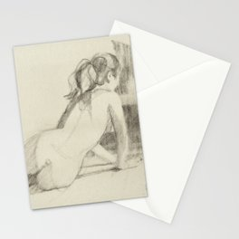 Female Nude Drawing of Woman Back View Charcoal Black and Beige Art Stationery Cards