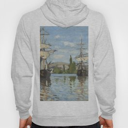 Claude Monet Ships Riding on the Seine at Rouen 18721873 Painting Hoody