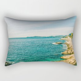 Seacoast of Cap d'Ail in a sunny winter day Rectangular Pillow