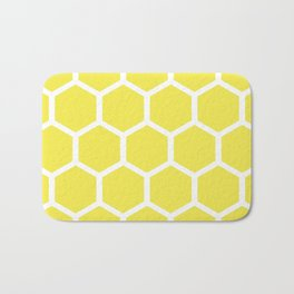 Honeycomb pattern - lemon yellow Bath Mat