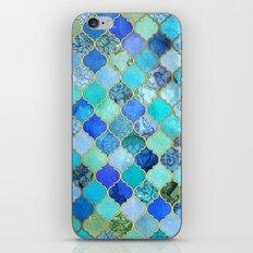 Cobalt Blue, Aqua & Gold Decorative Moroccan Tile Pattern iPhone & iPod Skin