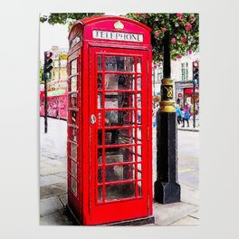London England - Red Telephone Booth - Telephone Box Poster