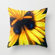 Butterfly on yellow Throw Pillow