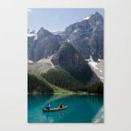Canoeing On Moraine Lake Canvas Print