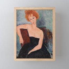 Redheaded Girl in Evening Dress by Amedeo Modigliani, 1918 Framed Mini Art Print