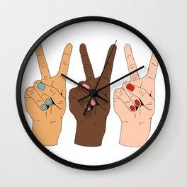 Peace Hands 3 Wall Clock