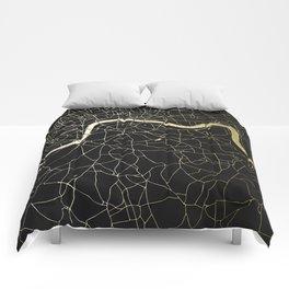 London Black on Gold Street Map Comforters