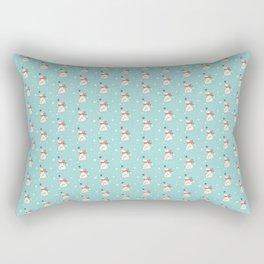 Modern teal white cute Christmas bear pattern Rectangular Pillow