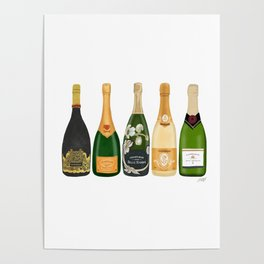 Champagne Bottles Poster