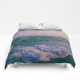 Sunset Crashing Waves Comforters