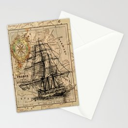 Vintage Nautical Map Stationery Cards