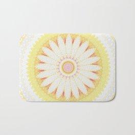 Sunshine Yellow Flower Mandala Abstract Badematte