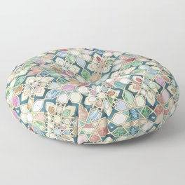 Muted Moroccan Mosaic Tiles Floor Pillow