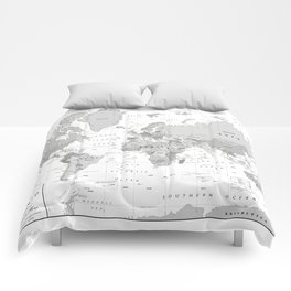 World Map [Black and White] Comforters