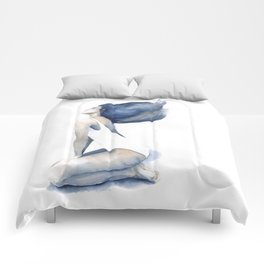 Blue light by Anna Radis Comforters