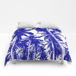 Palm Trees Design in Blue and White Comforters