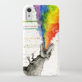 T-Rex Rainbow Puke iPhone Case