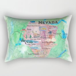 USA Nevada State Illustrated Travel Poster Favorite Map Rectangular Pillow