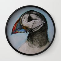 puffin Wall Clocks featuring Puffin by Hannah Jane Walker